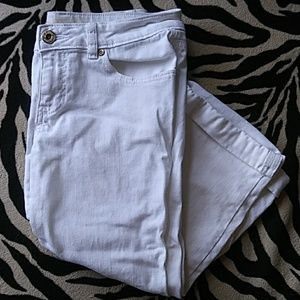 White Capris With Built in Fold